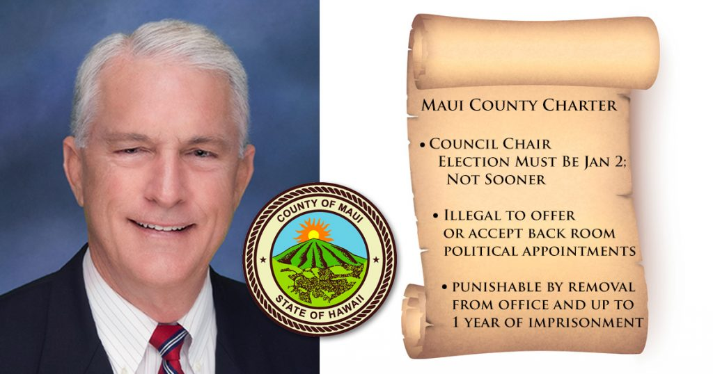 MAUI COUNTY CHAIR MIKE WHITE'S PRE-ELECTION VOTE RIGGING DEFIES THE COUNTY CHARTER